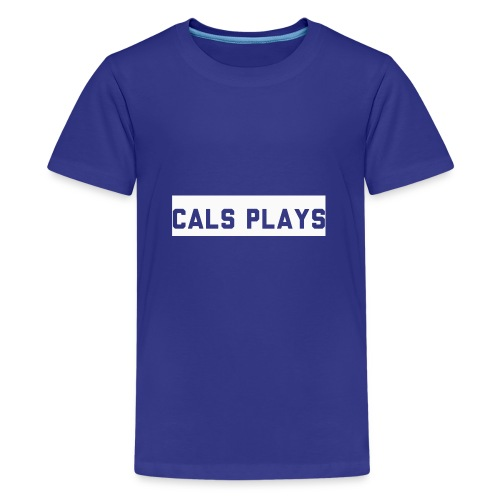 Cals Plays Text White - Teenage Premium T-Shirt
