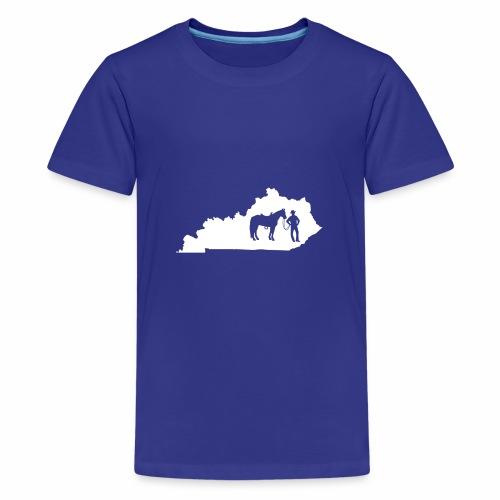 Awesome Kentucky Horse Map Riding Horseback Horse - Teenager Premium T-Shirt