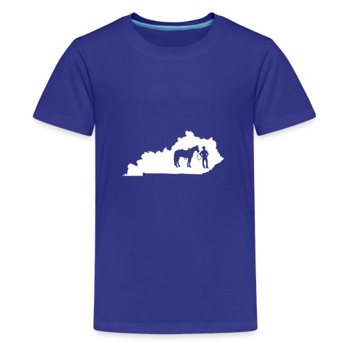Awesome Kentucky Horse Map Riding Horseback Horse - Teenager Premium T-Shirt