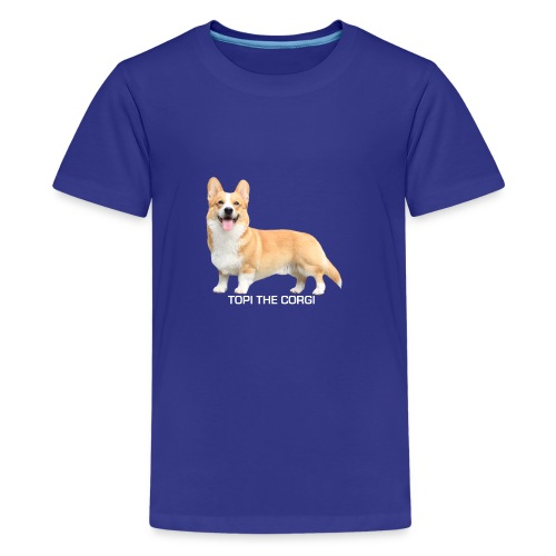 Topi the Corgi - White text - Teenage Premium T-Shirt