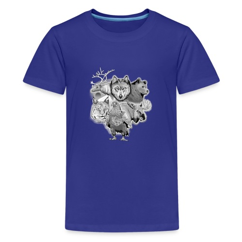 10-02 Susi, poro, karhu, ilves, kotka, hirvi-lahja - Teinien premium t-paita