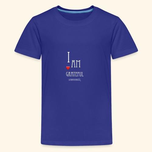 T Shirt Druck I am grateful Schwanenbussi weiss - Teenager Premium T-Shirt