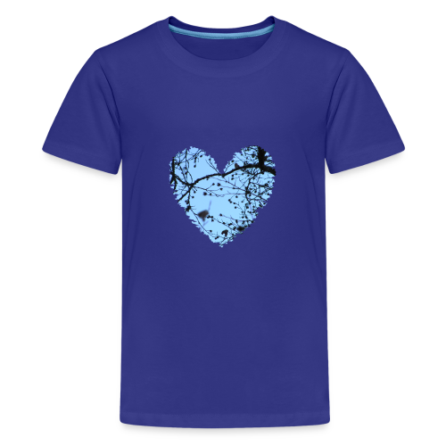 hart met boom takken en blauwe lucht, love t-shirt - Teenager Premium T-shirt