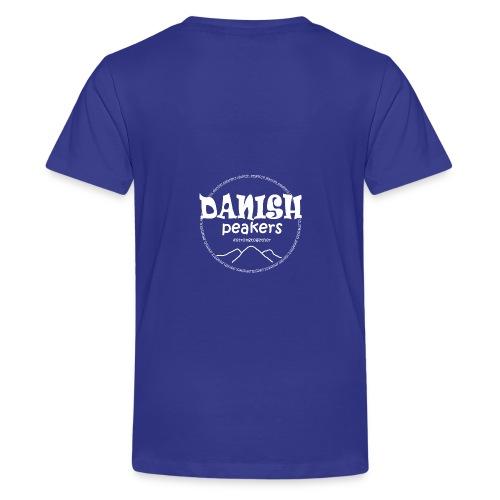 hvid logo bag på - Teenager premium T-shirt