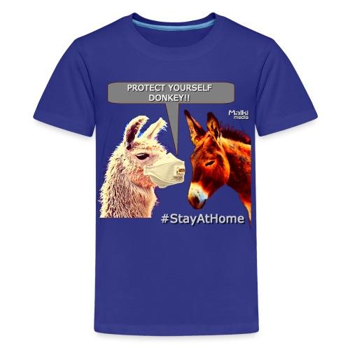 Protect Yourself Donkey - Coronavirus - Teenage Premium T-Shirt