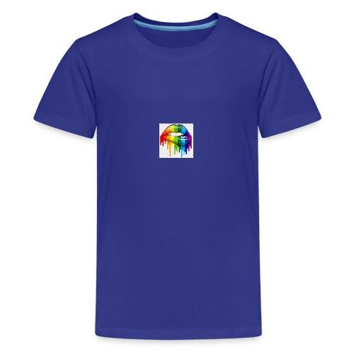 gay pride lgbt pride parade rainbow flag lip bite - Teenage Premium T-Shirt