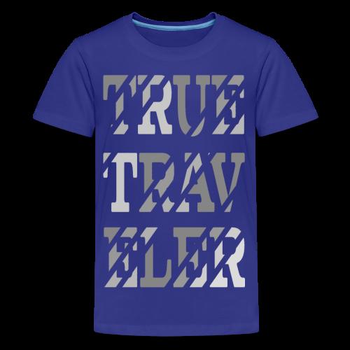 True Traveler Grey design - Teinien premium t-paita