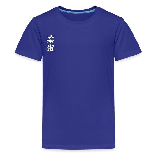 jiu-jitsu på japansk og logo i hvid - Teenager premium T-shirt
