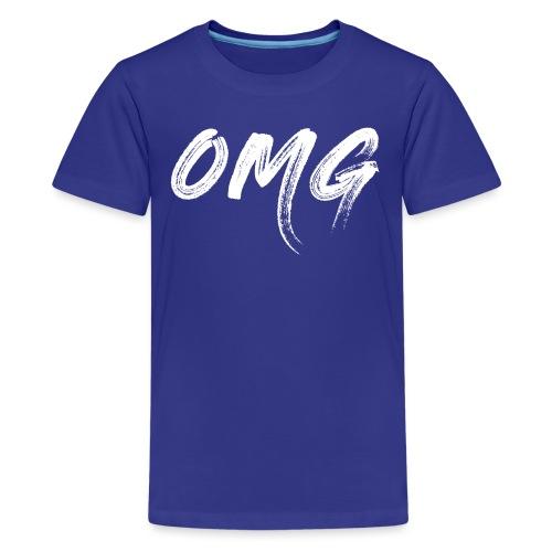OMG, valkoinen - Teinien premium t-paita