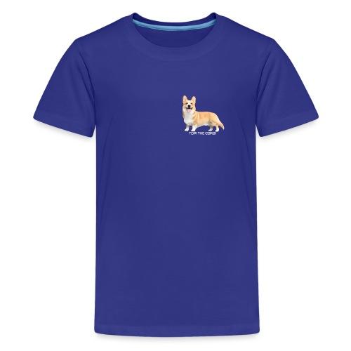 Topi the Corgi - White text - Teenage Premium T-Shirt