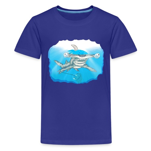 Hunting hammer fish design print - Teenage Premium T-Shirt
