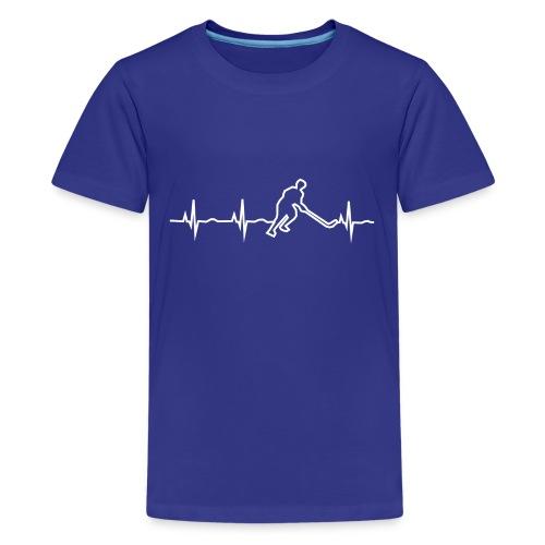 Heartbeat hockey - Mein Herz schlägt für Eishockey - Teenager Premium T-Shirt