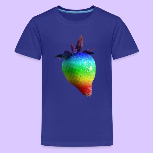 bunte Erdbeere in den Farben des Regenbogens - Teenager Premium T-Shirt