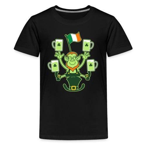 Leprechaun Juggling Beers and Irish Flag - Teenage Premium T-Shirt