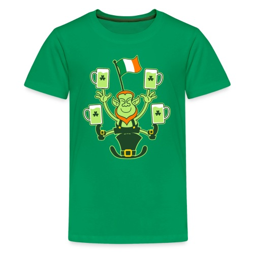 Leprechaun Juggling Beers and Irish Flag - Teenage Premium T-Shirt
