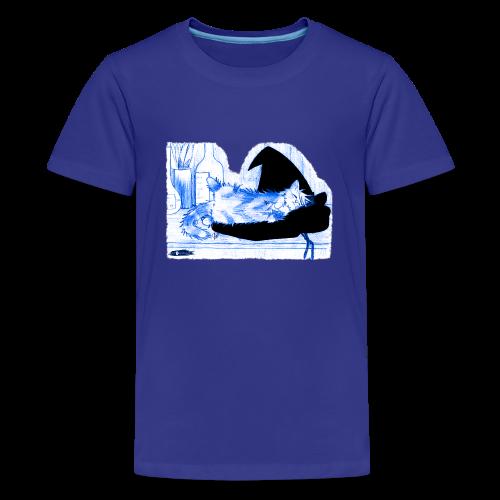 Tyrrin Hexenkater auf Hut (blau) - Teenager Premium T-Shirt