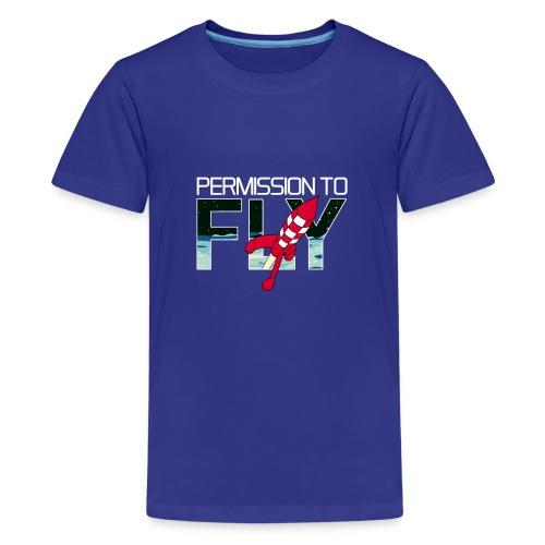 Permission To Fly Rocket - Teenage Premium T-Shirt
