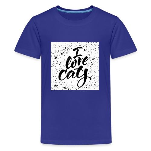 amo gatos - Camiseta premium adolescente