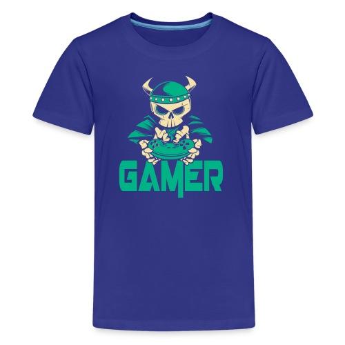 gamer skelett wikinger - Teenager Premium T-Shirt