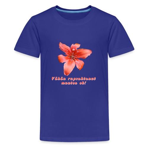 Vähän rupsahtanut, muuten ok - Teinien premium t-paita