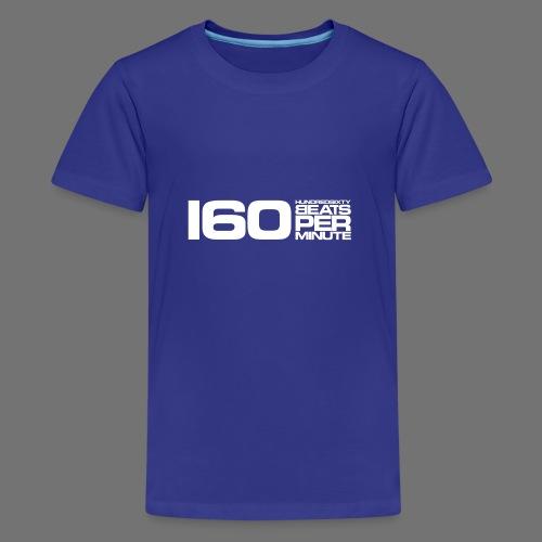 160 BPM (hvid lang) - Teenager premium T-shirt