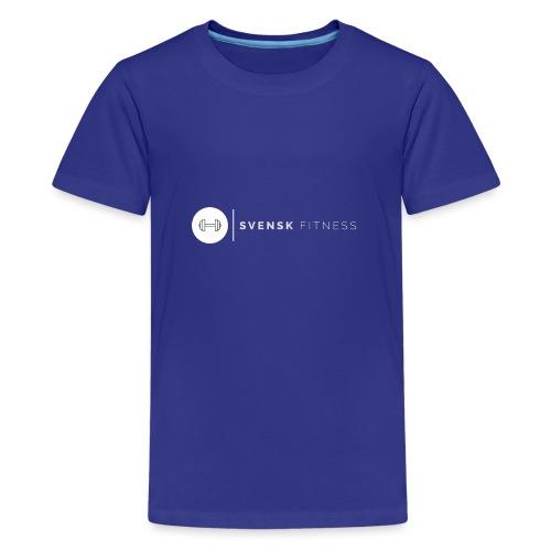 Vit vertikal logo dam - Premium-T-shirt tonåring