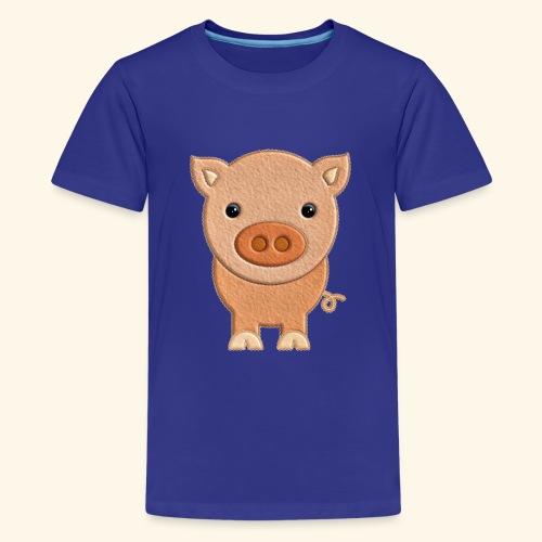 Cerdito de peluche Pig Cerdo - Camiseta premium adolescente