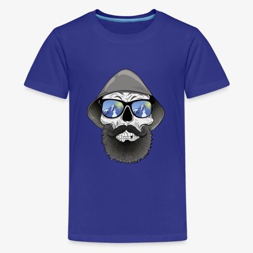 Totenkopf mit sonnenbrille und hut - Teenager Premium T-Shirt