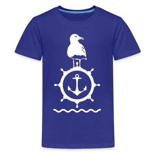 Möwe Steuerrad Anker Wellen Küste Meer Hafen - Teenager Premium T-Shirt