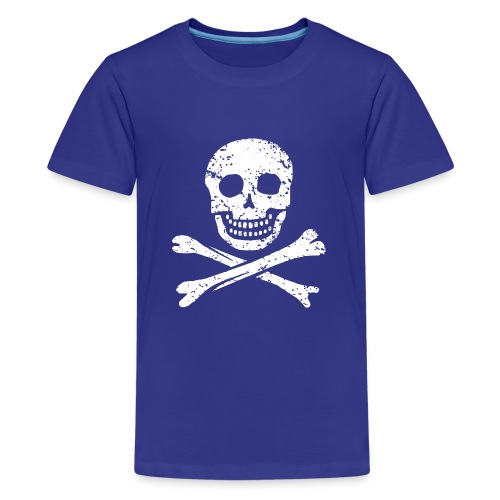 Skull & Crossbones - Distressed - Teenage Premium T-Shirt