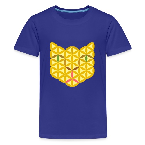 The Cat Of Life - Sacred Animals, B04, Yellow. - Teenage Premium T-Shirt