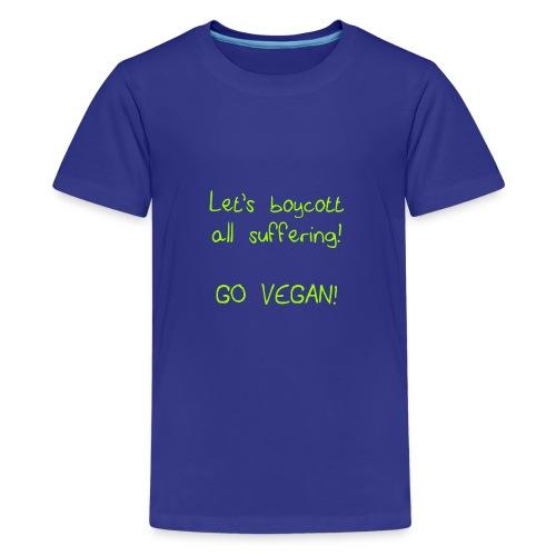 boycott suffering lime green png - Teenage Premium T-Shirt