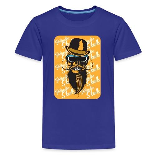tete de mort crane hipster skull barbu moustache c - T-shirt Premium Ado