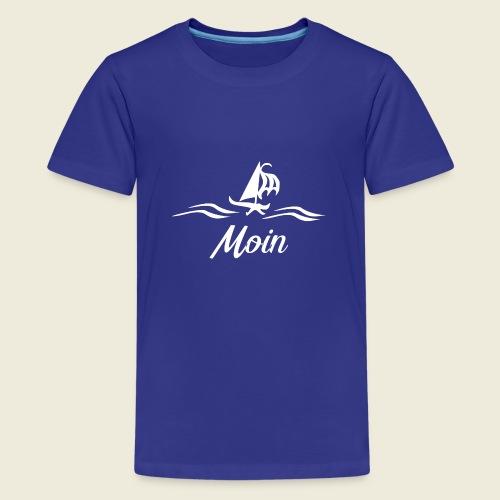 Moin mit Schiff in weiß - Teenager Premium T-Shirt