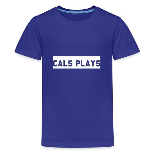 Cals Plays Text White - Teenage Premium T-Shirt
