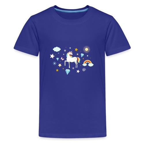 Einhorn Traumwelt Chaos Rainbow Unicorn Sterne - Teenager Premium T-Shirt