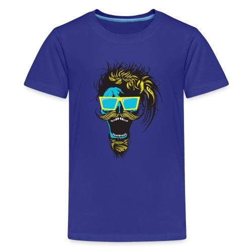 tete de mort hipster crane skull moustache barbe b - T-shirt Premium Ado