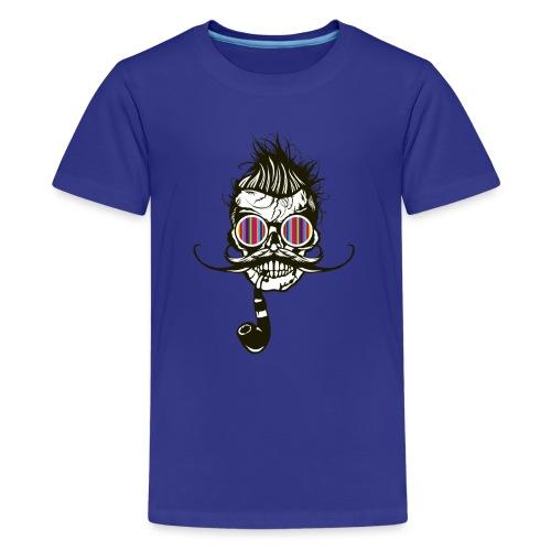 tete de mort hipster pipe crane skull coiffure pun - T-shirt Premium Ado