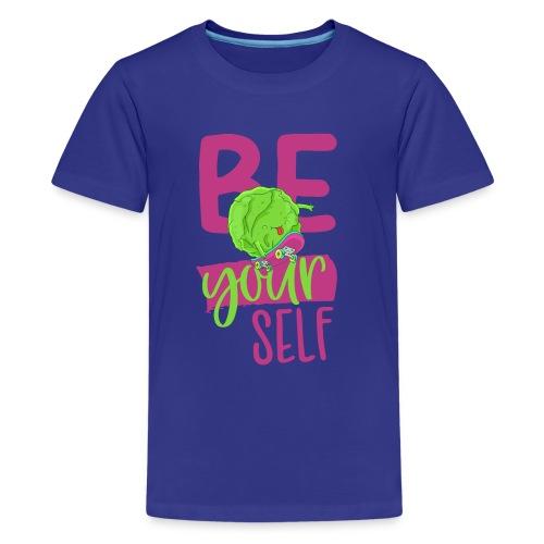 Be yourself happy Veggie Kohlkopf - Vegan Skater - Teenager Premium T-Shirt