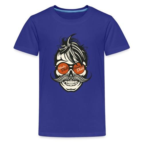 tete de mort hipster skull crane moustache lunette - T-shirt Premium Ado
