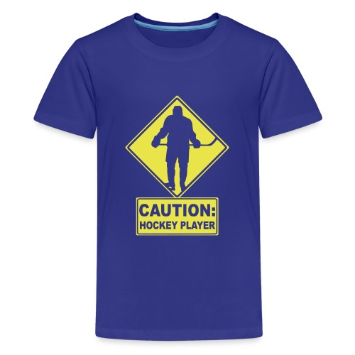 CAUTION: Hockey Player - Teenage Premium T-Shirt
