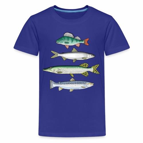 FOUR FISH - Ahven, siika, hauki ja taimen products - Teinien premium t-paita