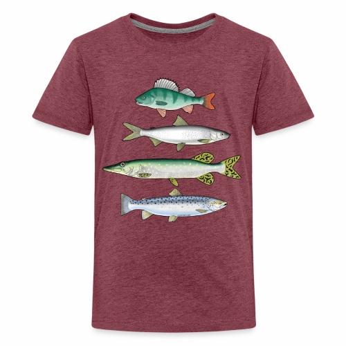 FOUR FISH - Ahven, siika, hauki ja taimen tuotteet - Teinien premium t-paita