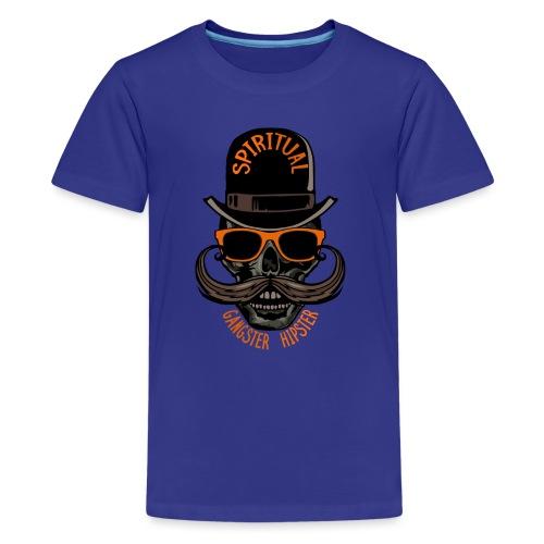 tete de mort hipster crane skull gangster moustach - T-shirt Premium Ado