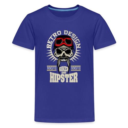tete de mort hipster biker skull crane motard lune - T-shirt Premium Ado