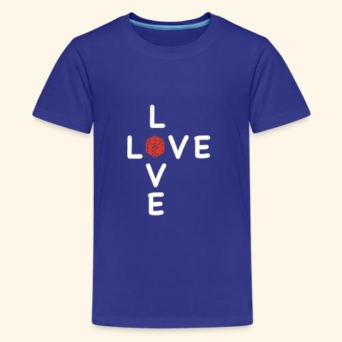 LOVE Cross white wuerfel red 001 - Teenager Premium T-Shirt