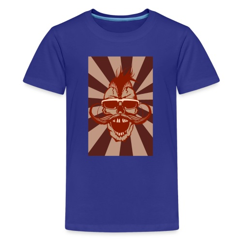 tete de mort crane hipster skull moustache design - T-shirt Premium Ado
