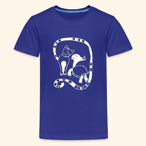 Katze und Schildi - Teenager Premium T-Shirt