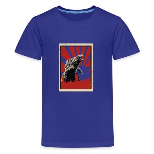 GodZilla red sun rays flare vintage movie poster - Teenage Premium T-Shirt