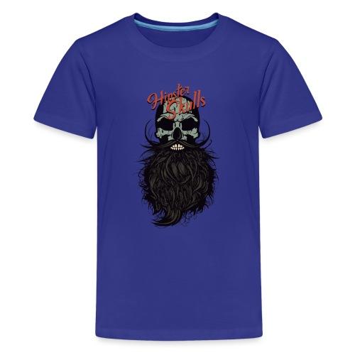 tete de mort hipster skull crane logo barbu barbe - T-shirt Premium Ado
